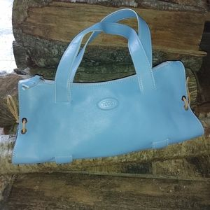 Tod's Authentic Baby Blue Leather Handbag